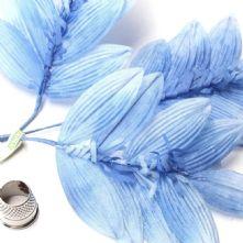 Vintage Tonal Pale Blue Silk Leaf Spray